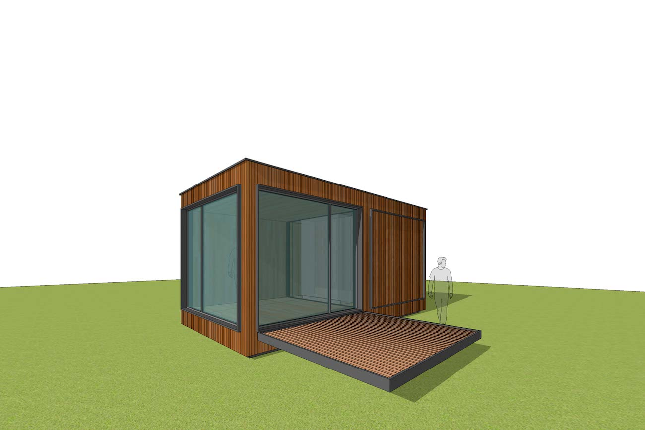 ICare Nest 3D model duurzaam modulair huis in CLT één module
