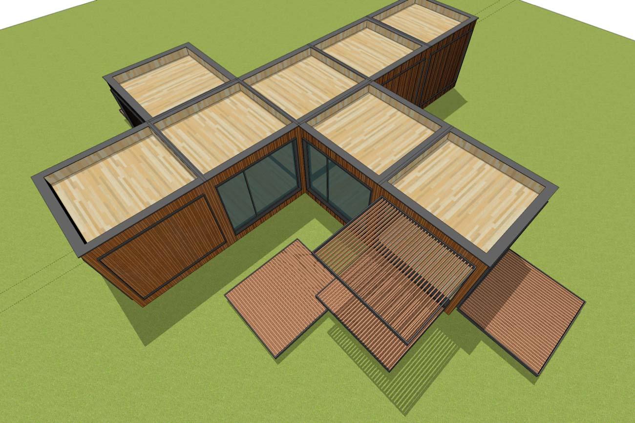ICare Nest 3D model duurzaam modulair huis in CLT met overdekt terras combinatie modules voor uitbreiding