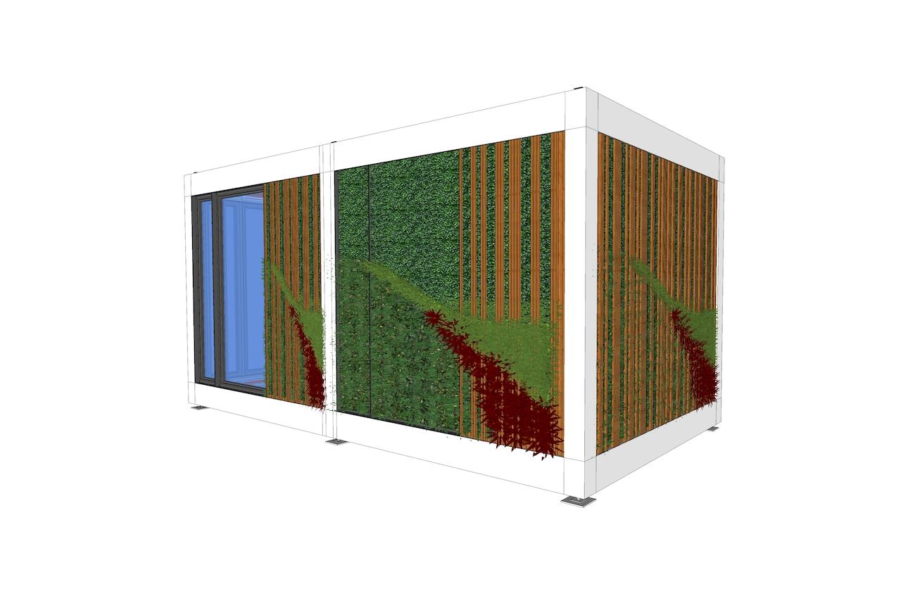 ICare Nest 3D model duurzaam modulair huis staal structuur met houten afwerking en groene gevel