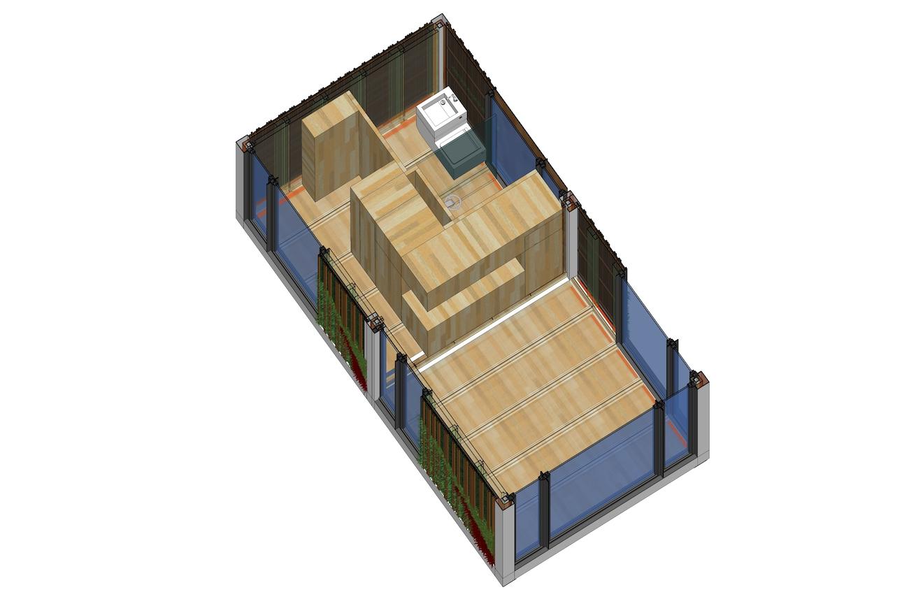 ICare Nest 3D model duurzaam modulair huis interieur met waterbesparende keuken en badkamer