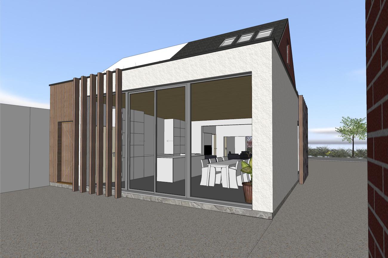 Woning in Vurste 3D render achtergevel van nieuwe CLT blokje met crepi en hout bekleding