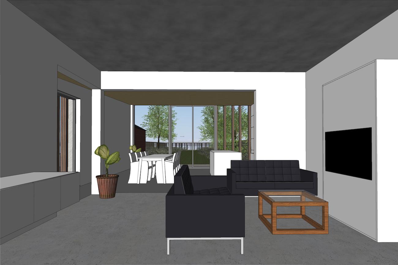 Woning in Vurste 3D render renovatie en nieuwe CLT blokje binnenzicht