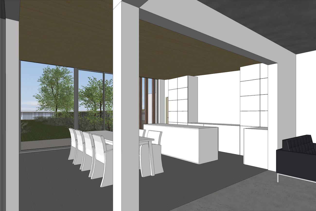 Woning in Vurste 3D render bestaande structuur en nieuwe CLT ruimte