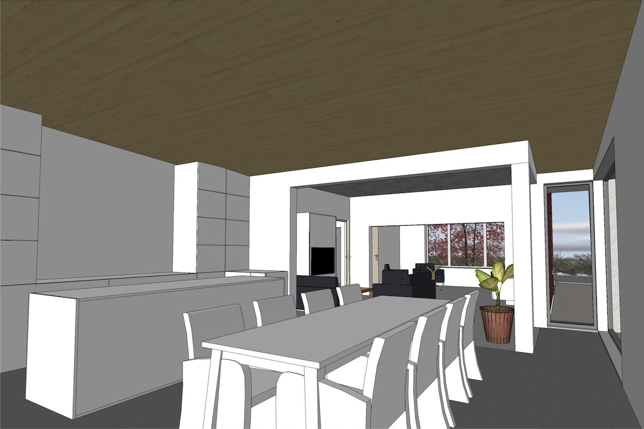Woning in Vurste 3D render nieuwe CLT keuken en eethoek blokje binnenzicht