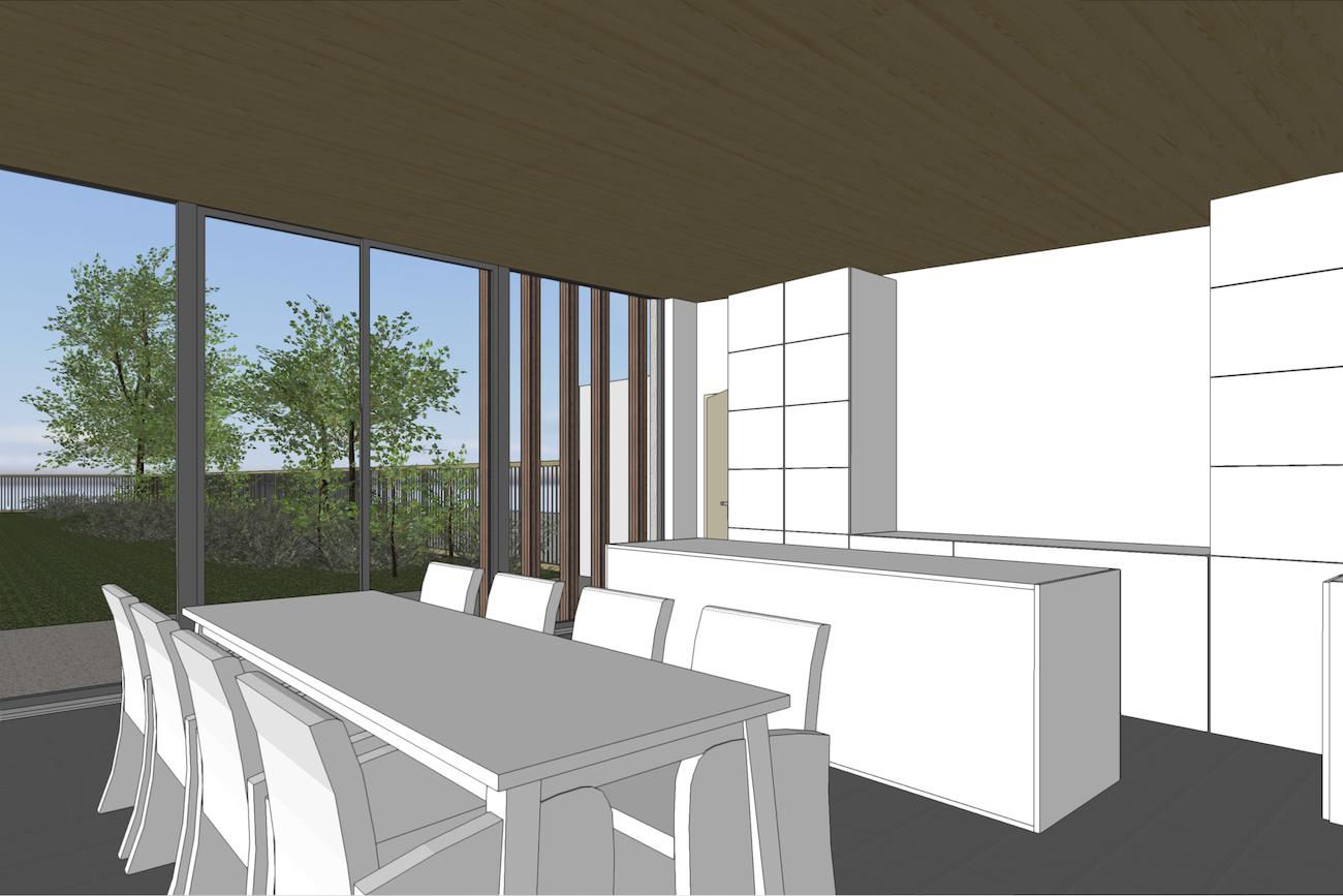 Woning in Vurste 3D render CLT blokje keuken en eethoek met een breed uitzicht op de tuin