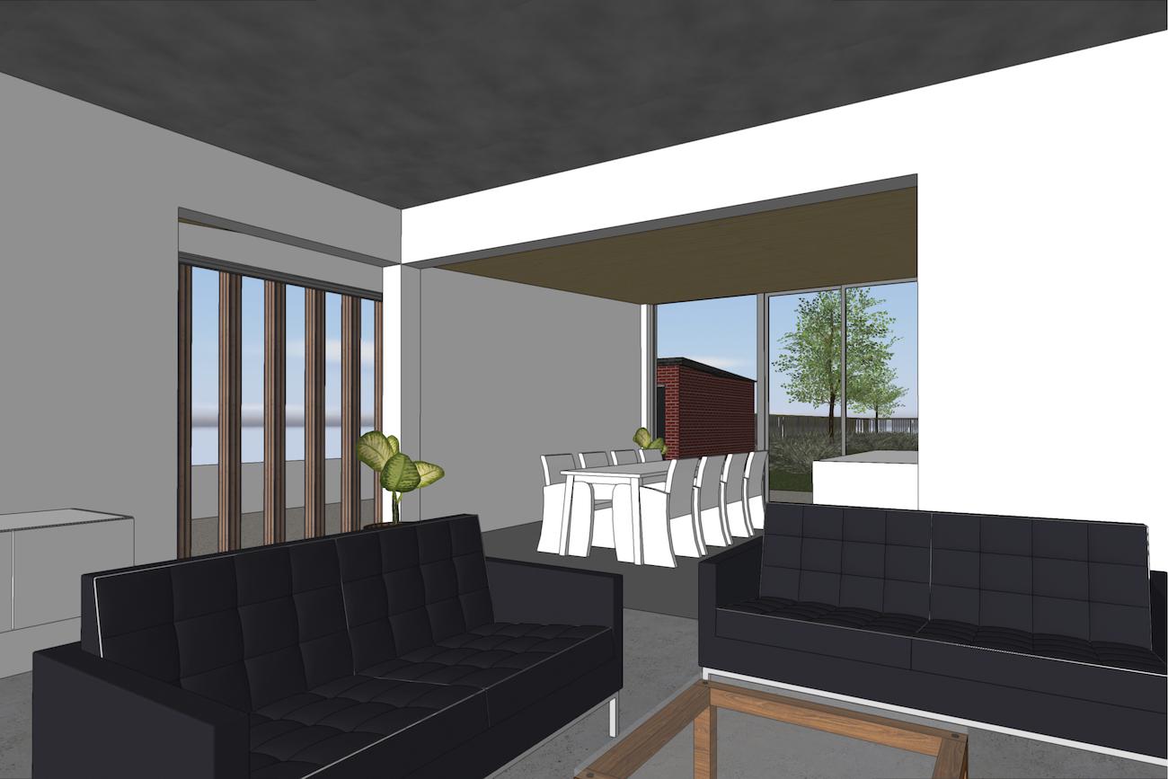 Woning in Vurste 3D render renovatie en nieuwe CLT blokje zicht van leefruimte