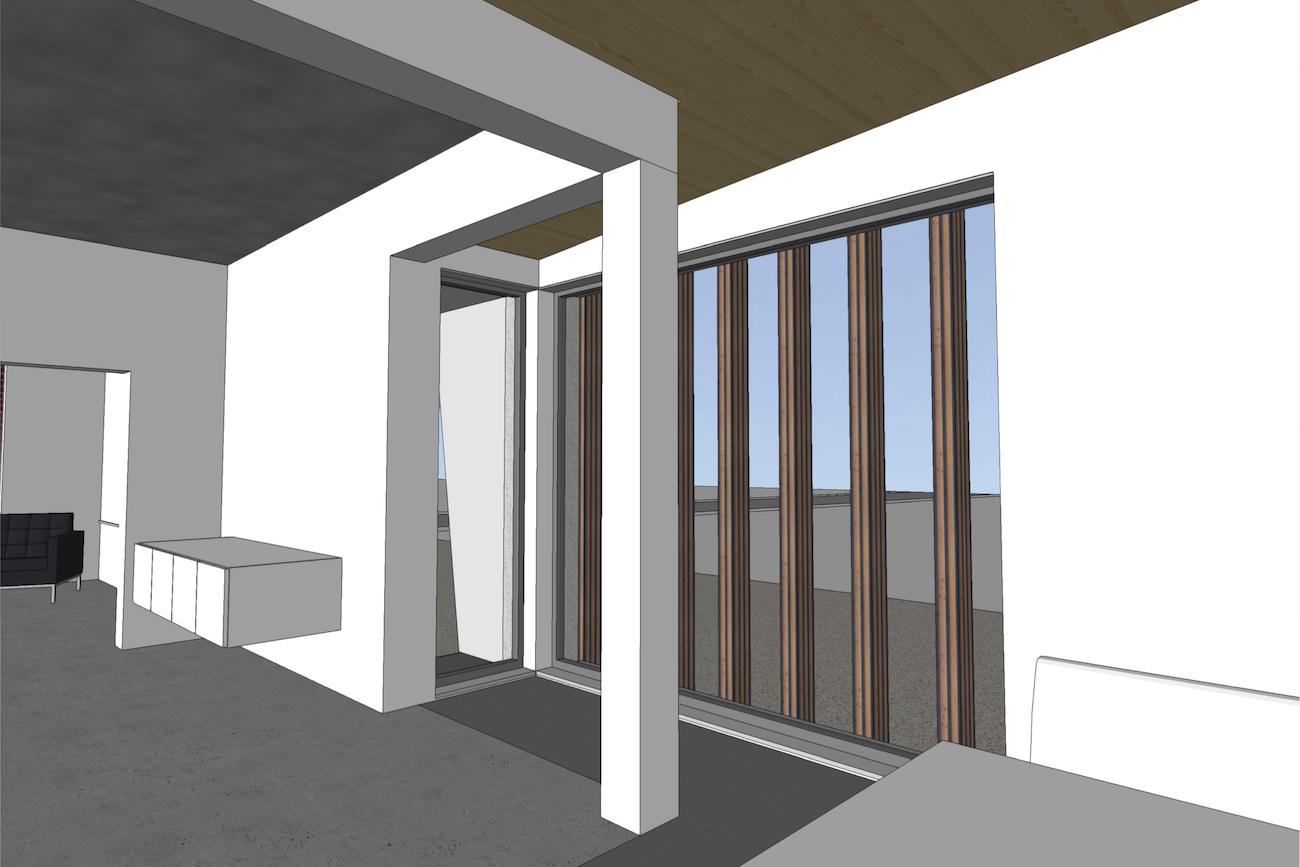 Woning in Vurste 3D render nieuwe CLT ruimte met hoekraam binnenzicht