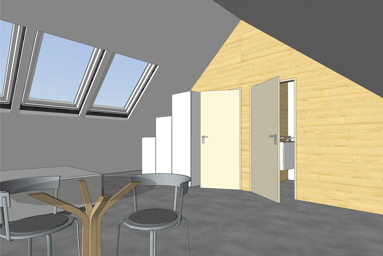 Woning in Vurste 3D render renovatie van bestaand dak met CLT muren afscheidingen