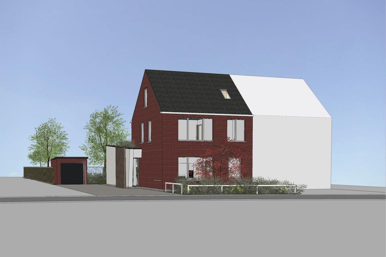 Woning in Vurste 3D render voorgevel overzicht van de renovatie plus een nieuwe ruimte in CLT