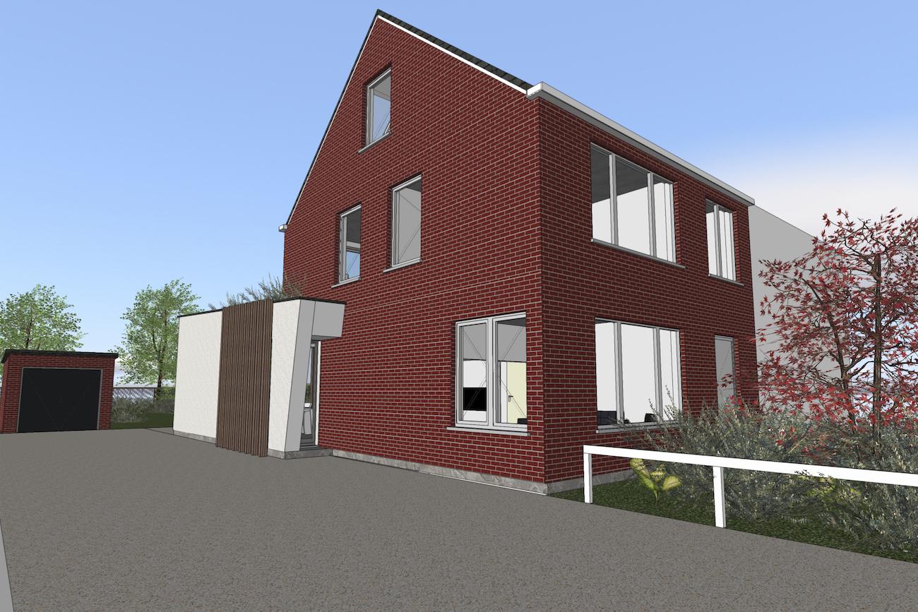 Woning in Vurste 3D render zijgevel renovatie plus een nieuwe ruimte in CLT