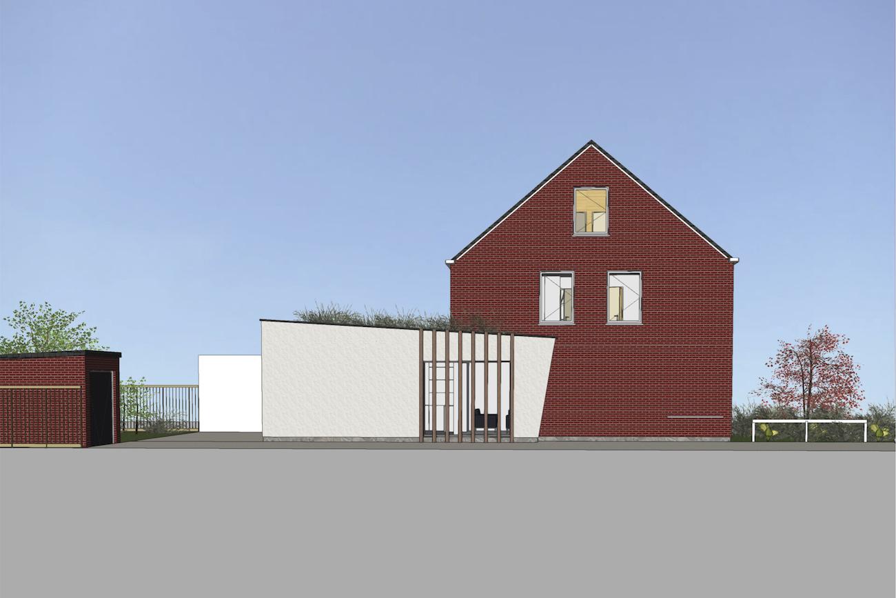 Woning in Vurste 3D render zijgevel overzicht van de renovatie plus uitbreiding in CLT