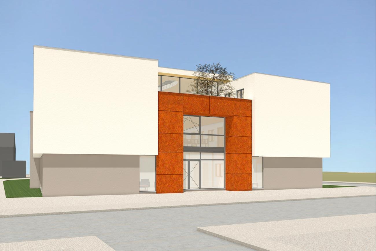 Porseleinhuis CLT serviceflats in Wichelen 3D render van de voorgevel afgewerkt in crepi en corten staal en met een gemeentschapelijke terras