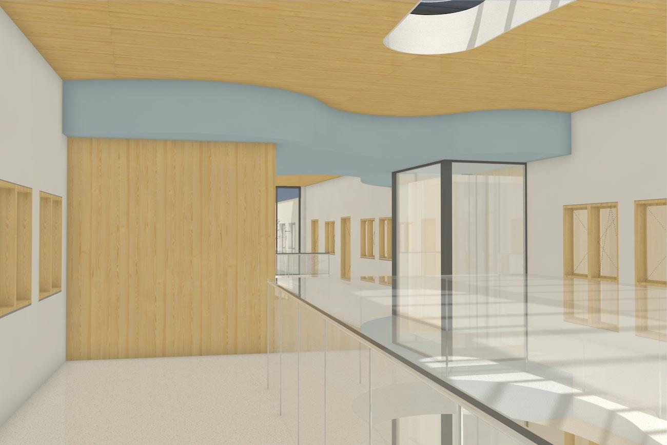 Porseleinhuis serviceflats in Wichelen 3D render van 2de verdieping hal CLT en witte crepi interieur met organische blauwe plafond