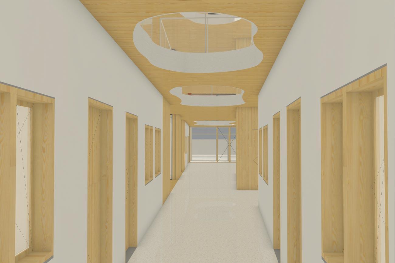 Porseleinhuis serviceflats in Wichelen 3D render van gemeentschapelijk hal combinatie van CLT plafond, houten deuren en ramen en witte crepi