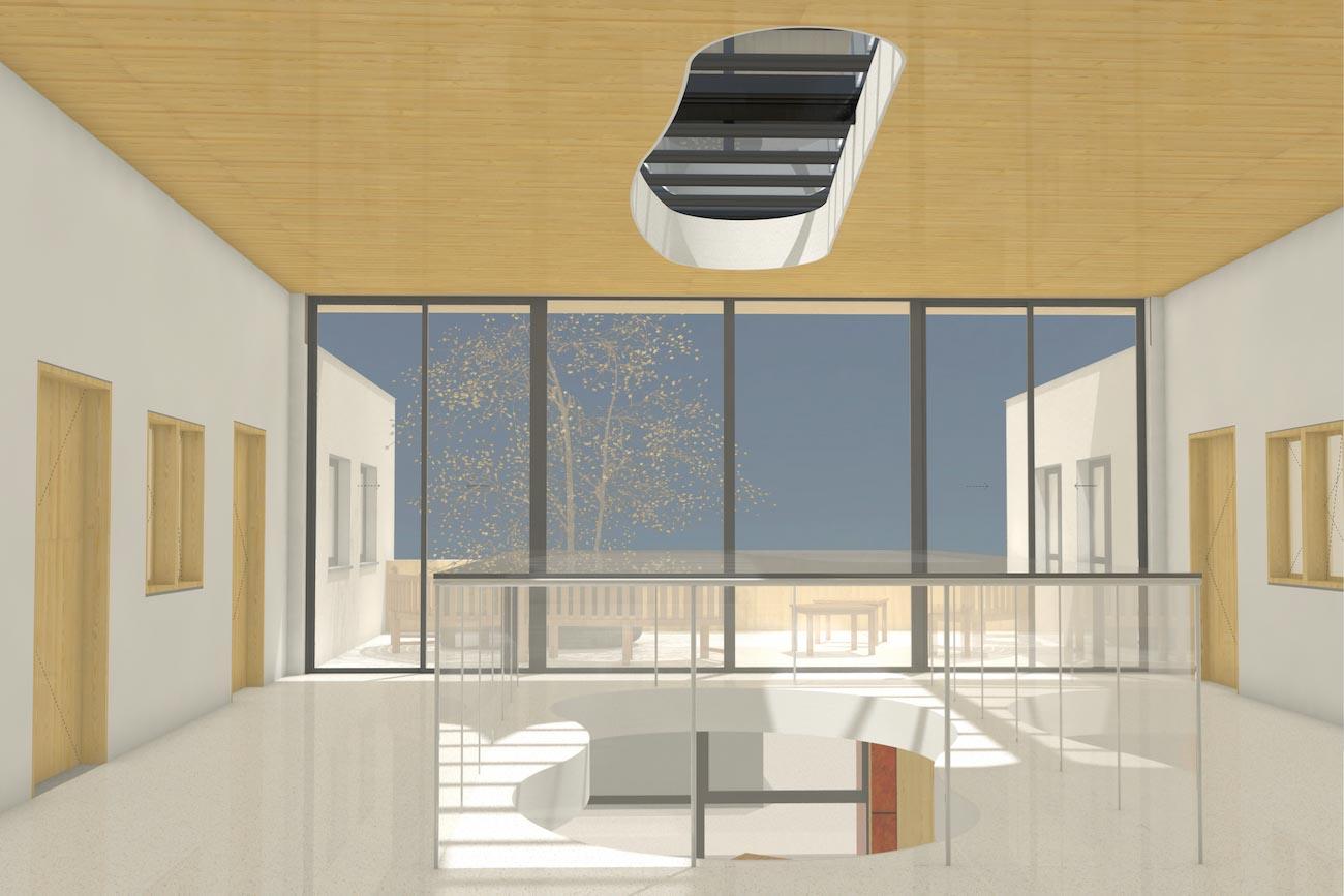 Porseleinhuis serviceflats in Wichelen 3D render van 2de verdieping hal organische vorm vide en grote gemeentschapelijke terras