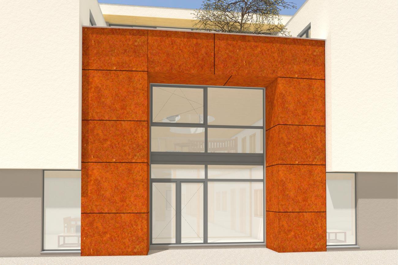 Porseleinhuis CLT serviceflats in Wichelen 3D render van de inkom afgewerkt in crepi en corten staal en met een gemeentschapelijke terras