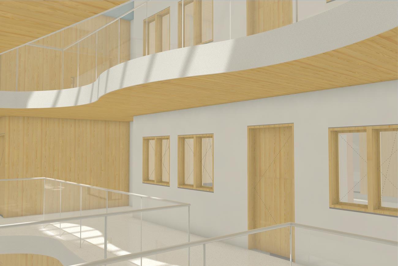 Porseleinhuis serviceflats in Wichelen 3D render van gemeentschapelijk verdieping hal met organische verticale openingen tussen verdiepingen CLT interieur