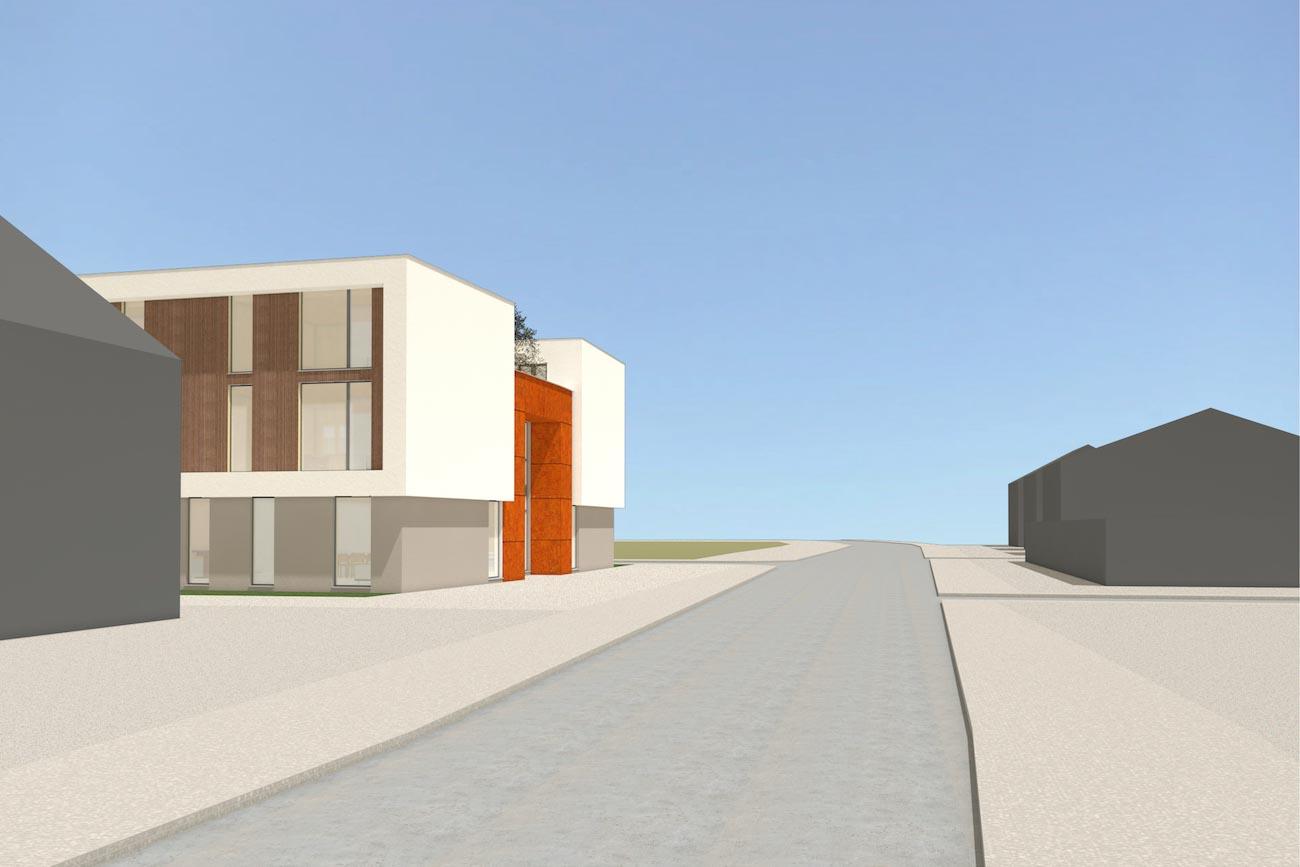Porseleinhuis CLT serviceflats in Wichelen 3D render van uitzicht op straat moderne stijl afgewerkt met en combinatie van witte en grijze crepi met hout en corten staal