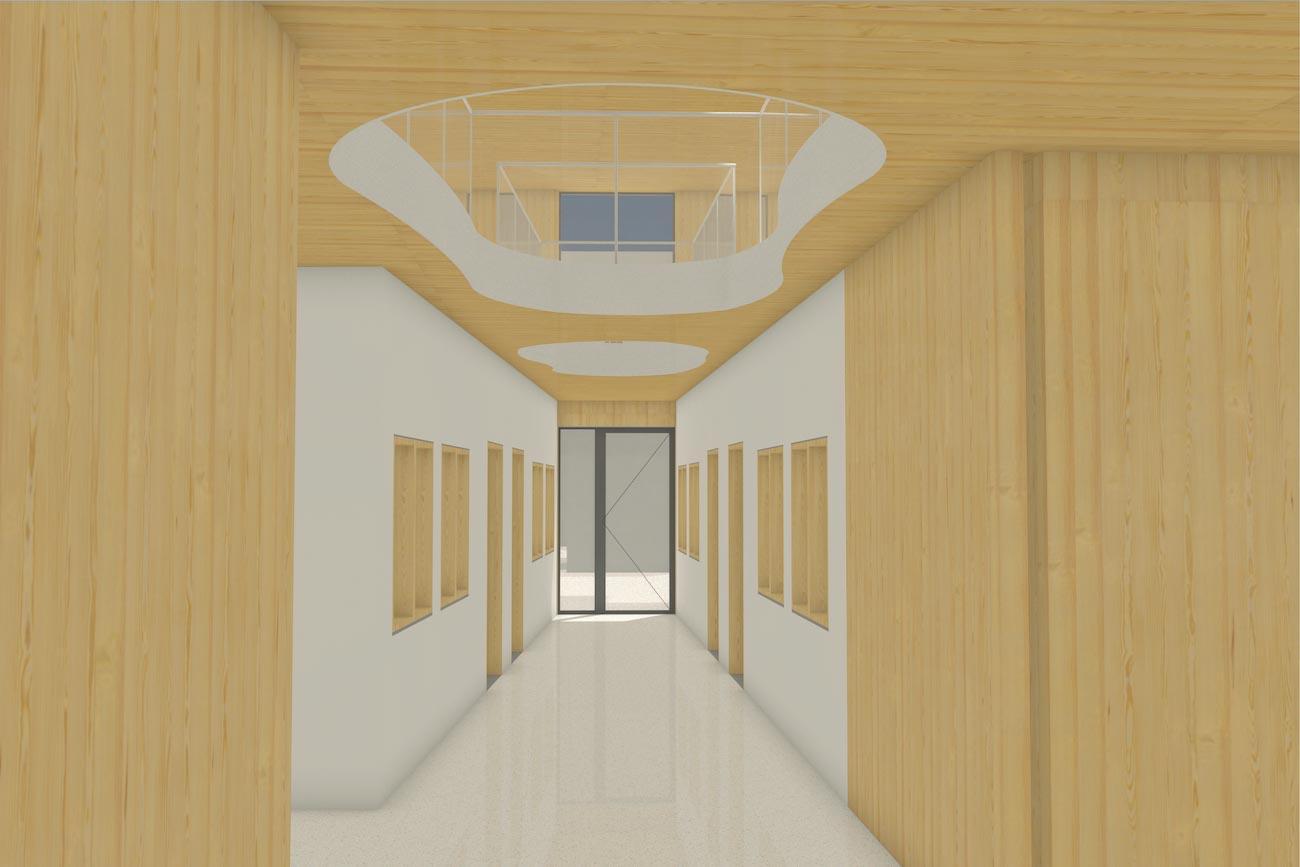 Porseleinhuis serviceflats in Wichelen 3D render van gemeentschapelijk hal CLT interieur met organische openingen tussen verdiepingen