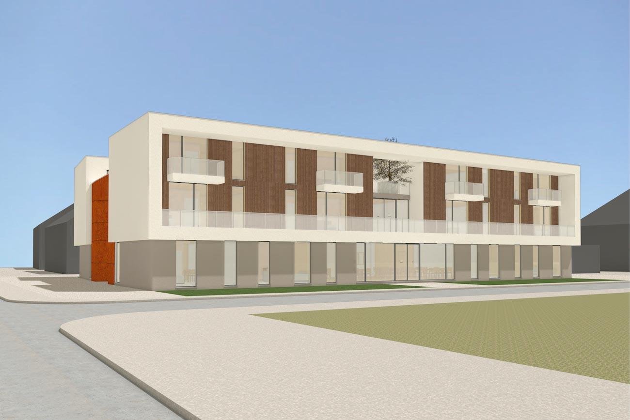 Porseleinhuis CLT serviceflats in Wichelen 3D render van zijgevel met een gemeentschapelijke terras en groene daken