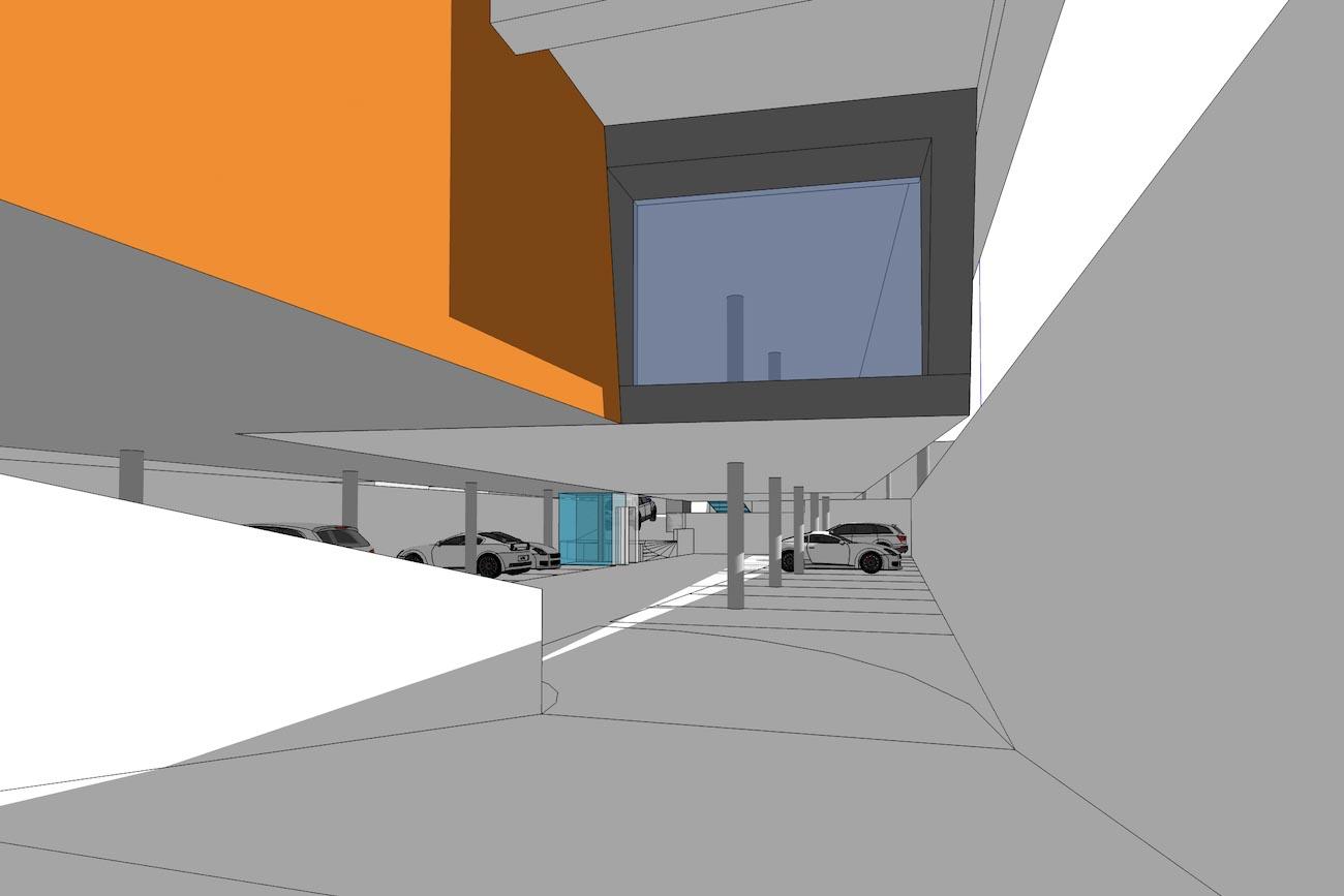 CLT Kantoor Xpower in Melle 3D render carport ingang