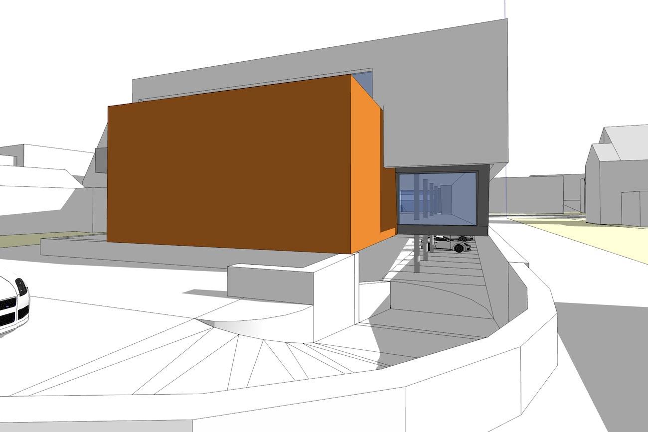CLT Kantoor Xpower in Melle 3D render oranje carport ingang