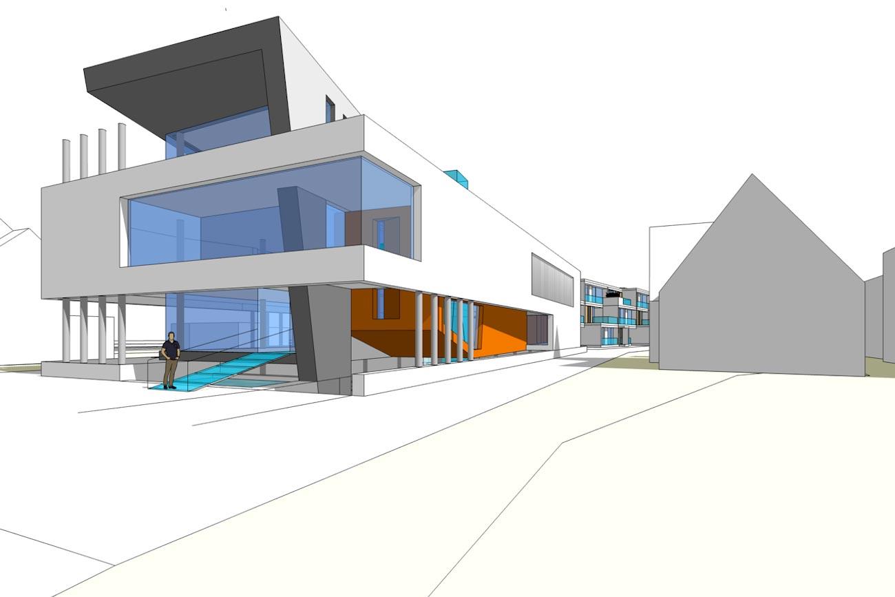 CLT Kantoor Xpower in Melle 3D render moderne ontwerp voorgevel