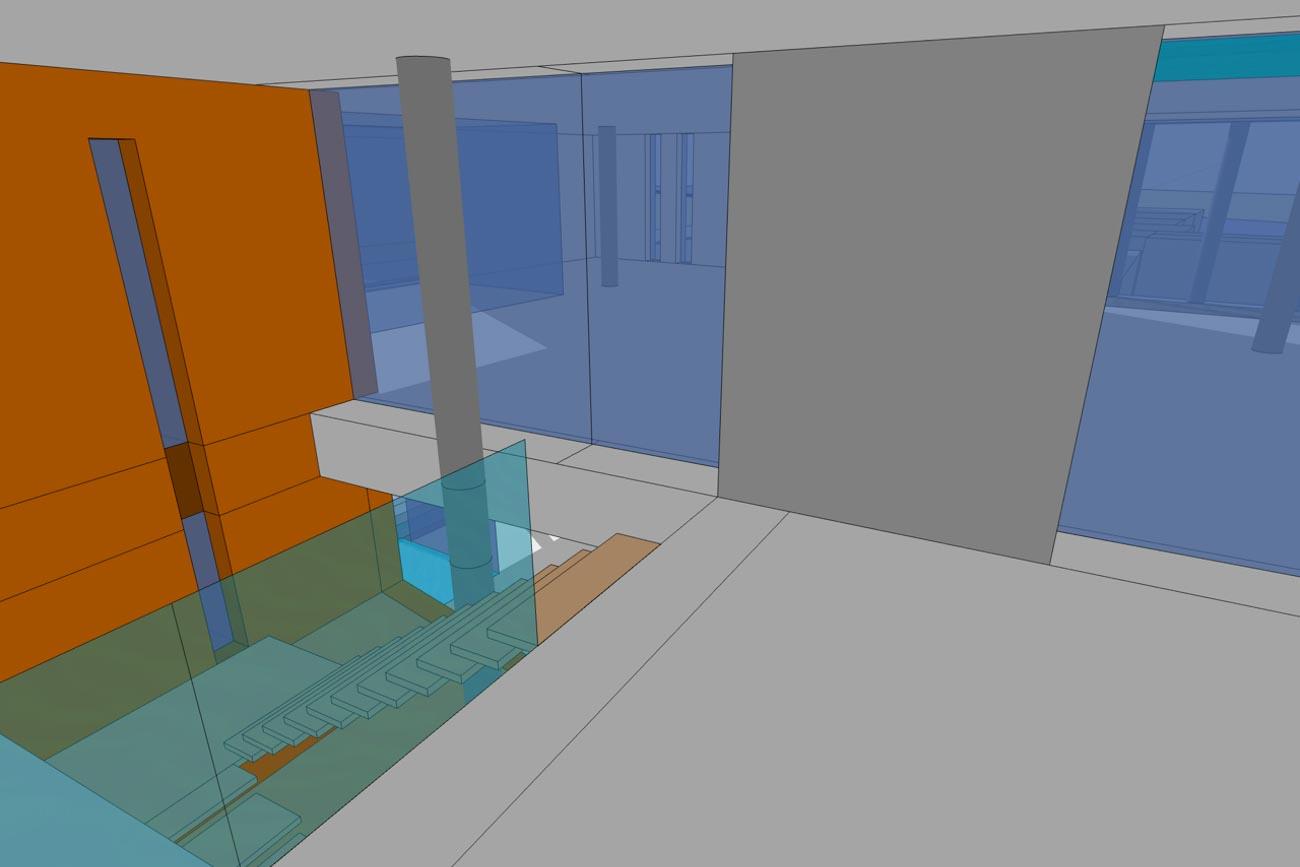 CLT Kantoor Xpower in Melle 3D render minimalistische interieur oranje traphal