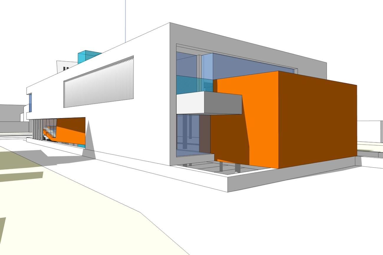CLT Kantoor Xpower in Melle 3D render moderne ontwerp achtergevel
