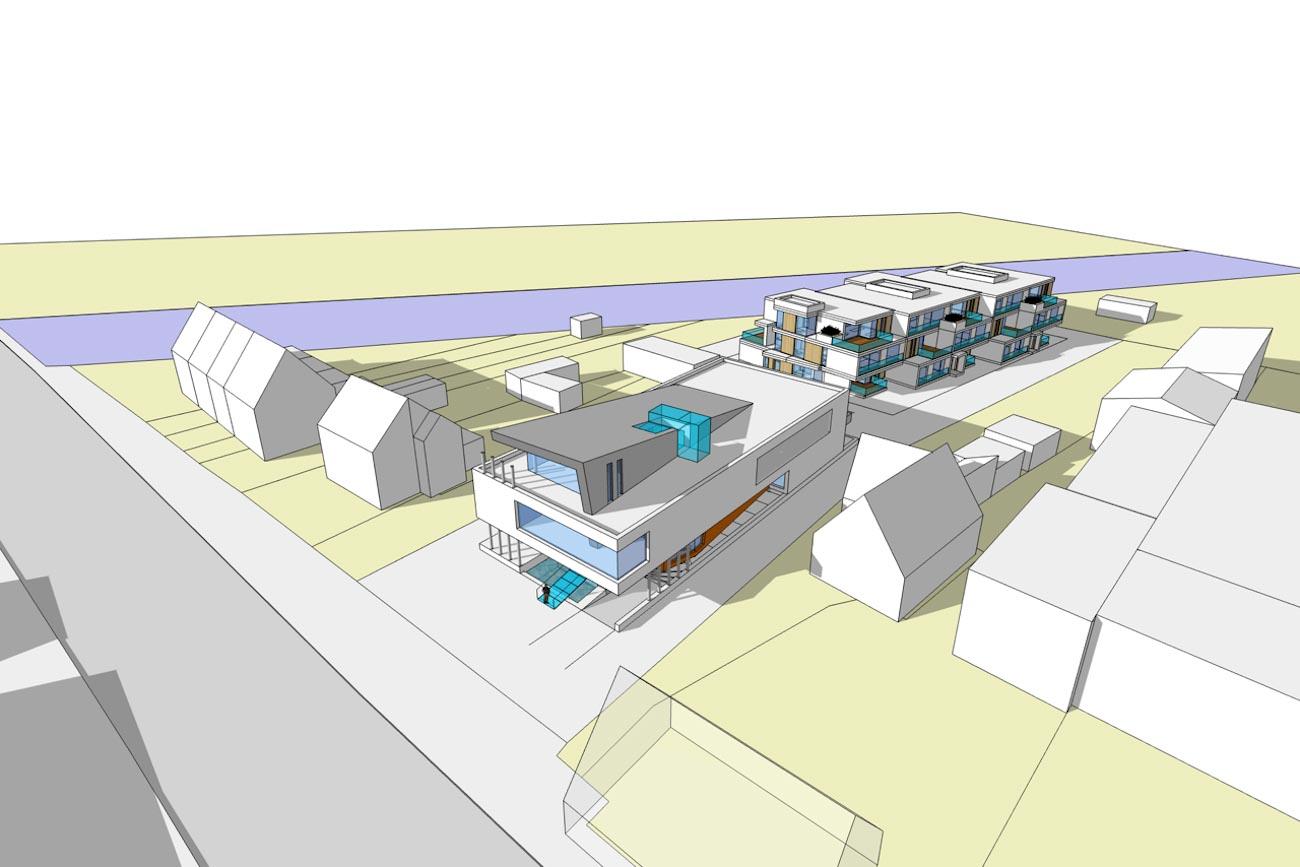 CLT Kantoor Xpower in Melle 3D render overzicht kantoor en appartmenten rechts