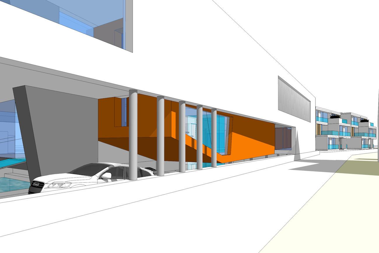 CLT Kantoor X-Power in Melle 3D render moderne ontwerp voorgevel