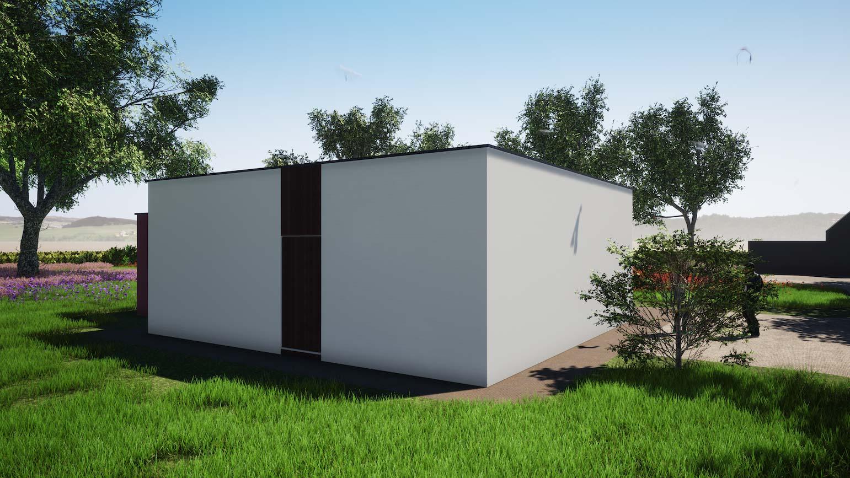 Woning in Maldegem 3D render van klein maar fijn huisje in CLT minimalistische inkom