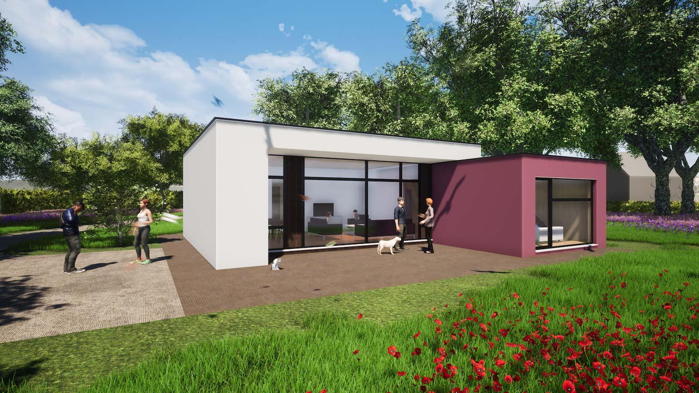 Woning in Maldegem 3D render van klein huisje in CLT 2 blokjes in een grote tuin in witte en rode crepi afgewerkt
