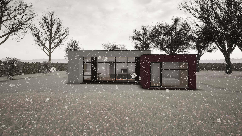 Woning in Maldegem CLT huis 3D render in de winter tijdens een sneeuwstorm
