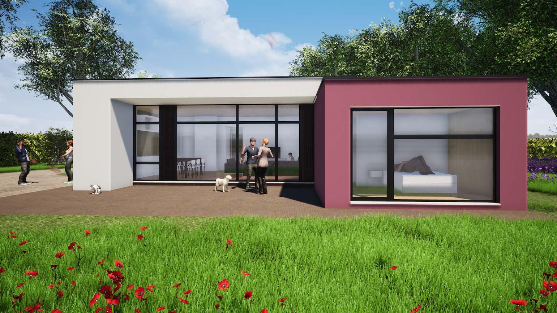 Woning in Maldegem 3D render van klein huisje in CLT 2 blokjes met een Mondriaan geinspireerd vliesgevel