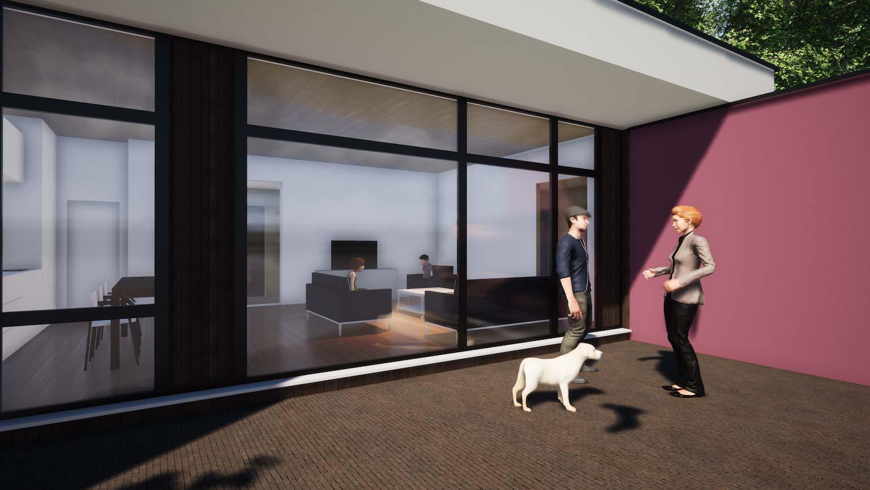 Woning in Maldegem 3D render van klein huisje in CLT detail van overdekt vliesgevel geinspireerd op de schilder Mondriaan