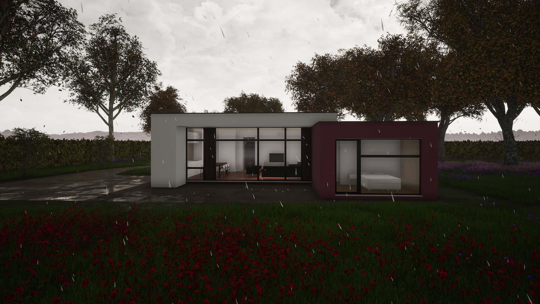Woning in Maldegem CLT huis 3D render in een donker dag met regenachtig weer