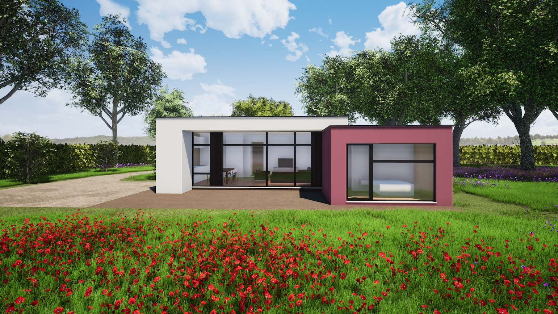 Woning in Maldegem CLT huis 3D render in de lente met bloemen
