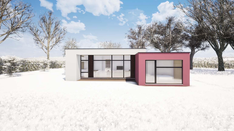 Woning in Maldegem CLT huis 3D render in de winter met zachte sneeuw
