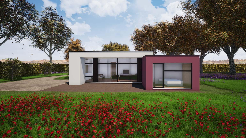 Woning in Maldegem CLT huis 3D render in de herfst met bruine bladen
