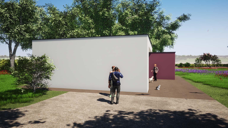 Woning in Maldegem 3D render van klein maar fijn huisje in CLT blinde zijgevel