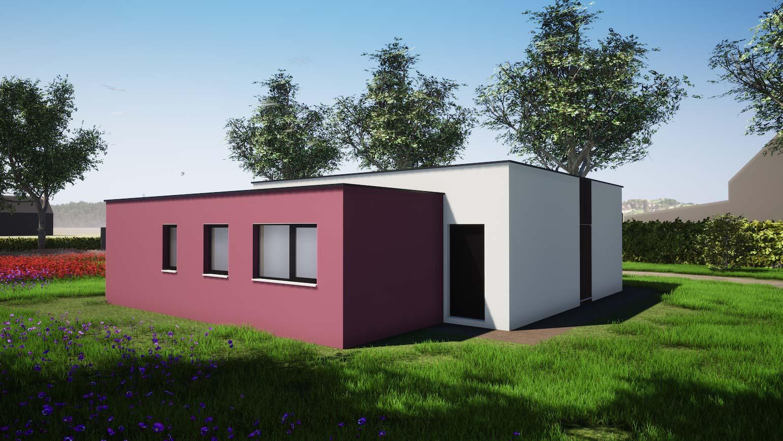 Woning in Maldegem 3D render van klein maar fijn huisje in CLT minimalistische architectuur