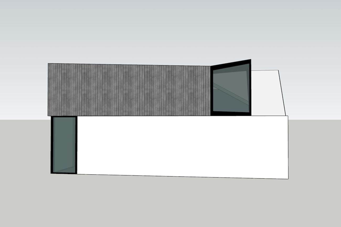 Woning in Mariakerke 3D model 1e sketch van renovatie met een nieuwe volume in CLT zijgevel
