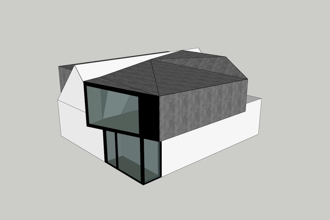 Woning in Mariakerke 3D model 1te sketch van renovatie plus een nieuwe volume in CLT met origami dak
