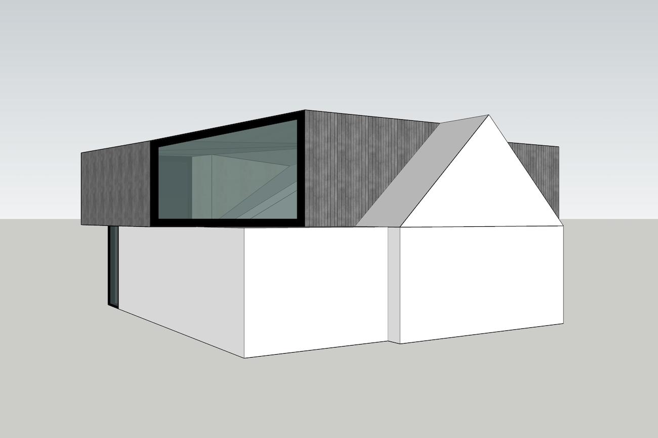 Woning in Mariakerke 3D model 1te sketch van renovatie met een nieuwe volume in CLT voorgevel