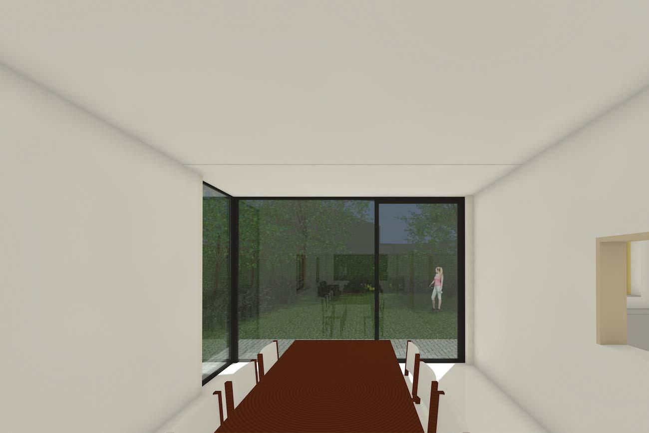Woning in Mariakerke 3D render van eethoek renovatie met grote hoekraam