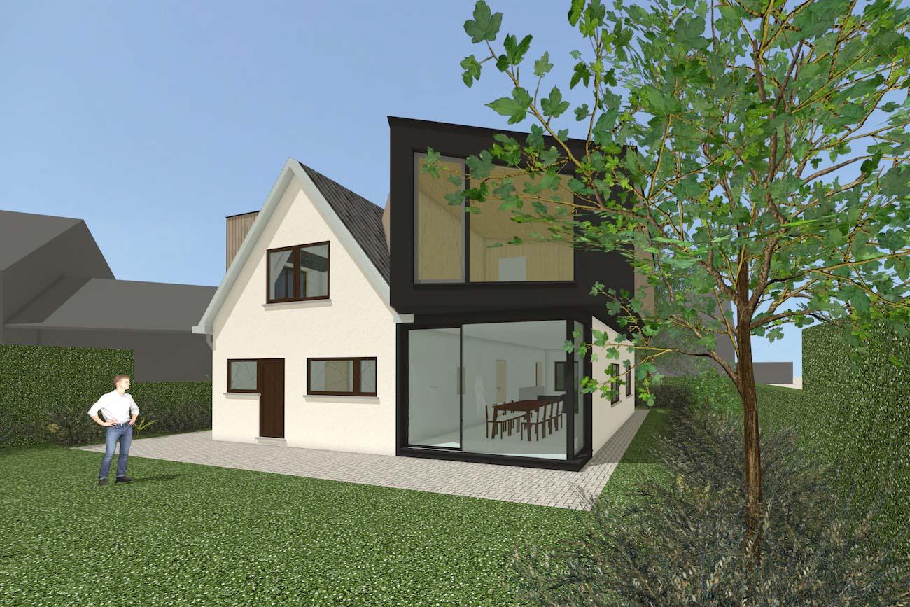 Woning in Mariakerke 3D render van renovatie in crepi met een nieuwe volume in CLT afgewerkt in hout achtergevel