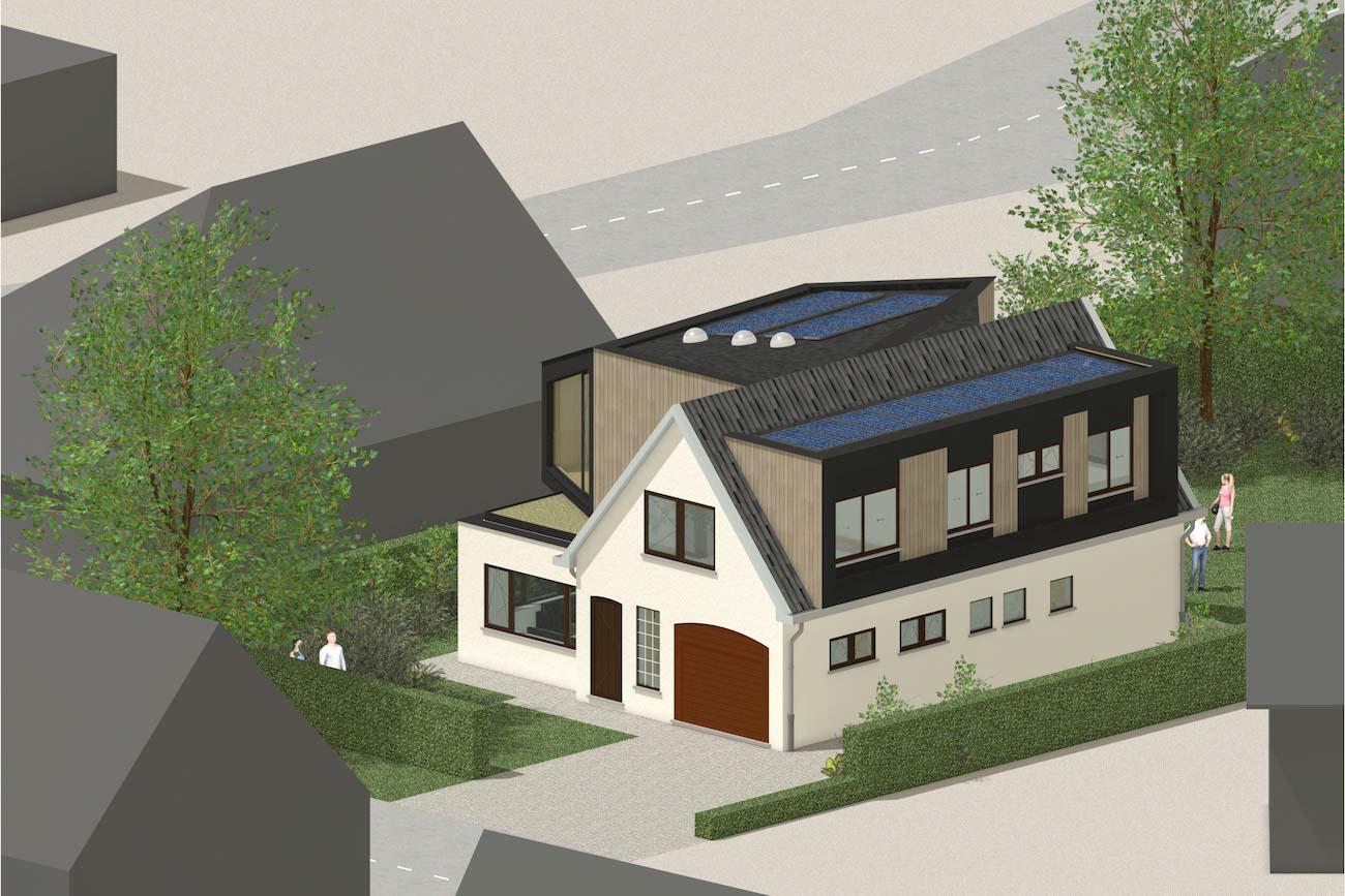 Woning in Mariakerke 3D render van renovatie met een nieuwe volume in CLT met een groen dak en zonnepanelen voorgevel