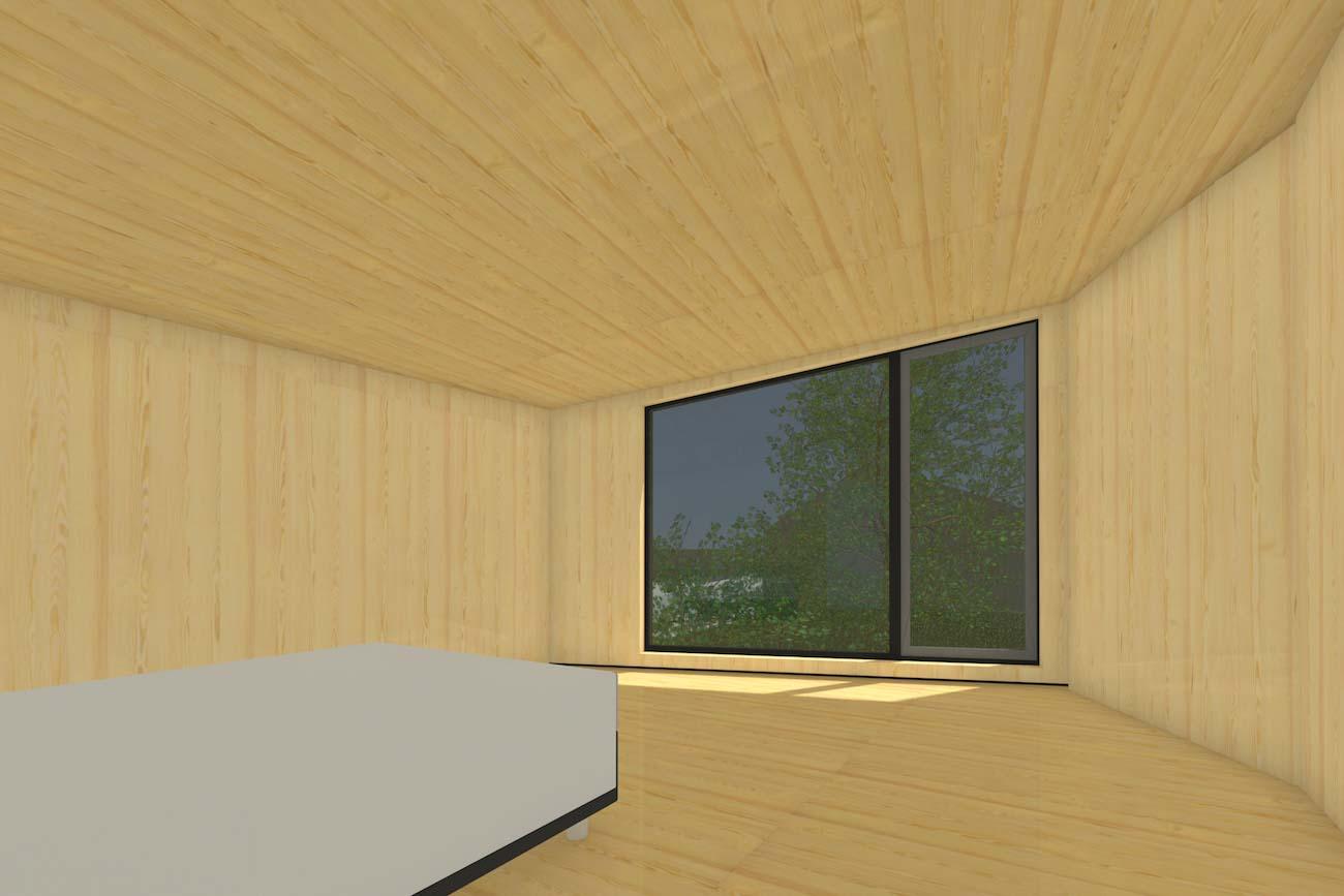 oning in Mariakerke 3D render van slaapkamer met een grote raam in nieuwe CLT volume