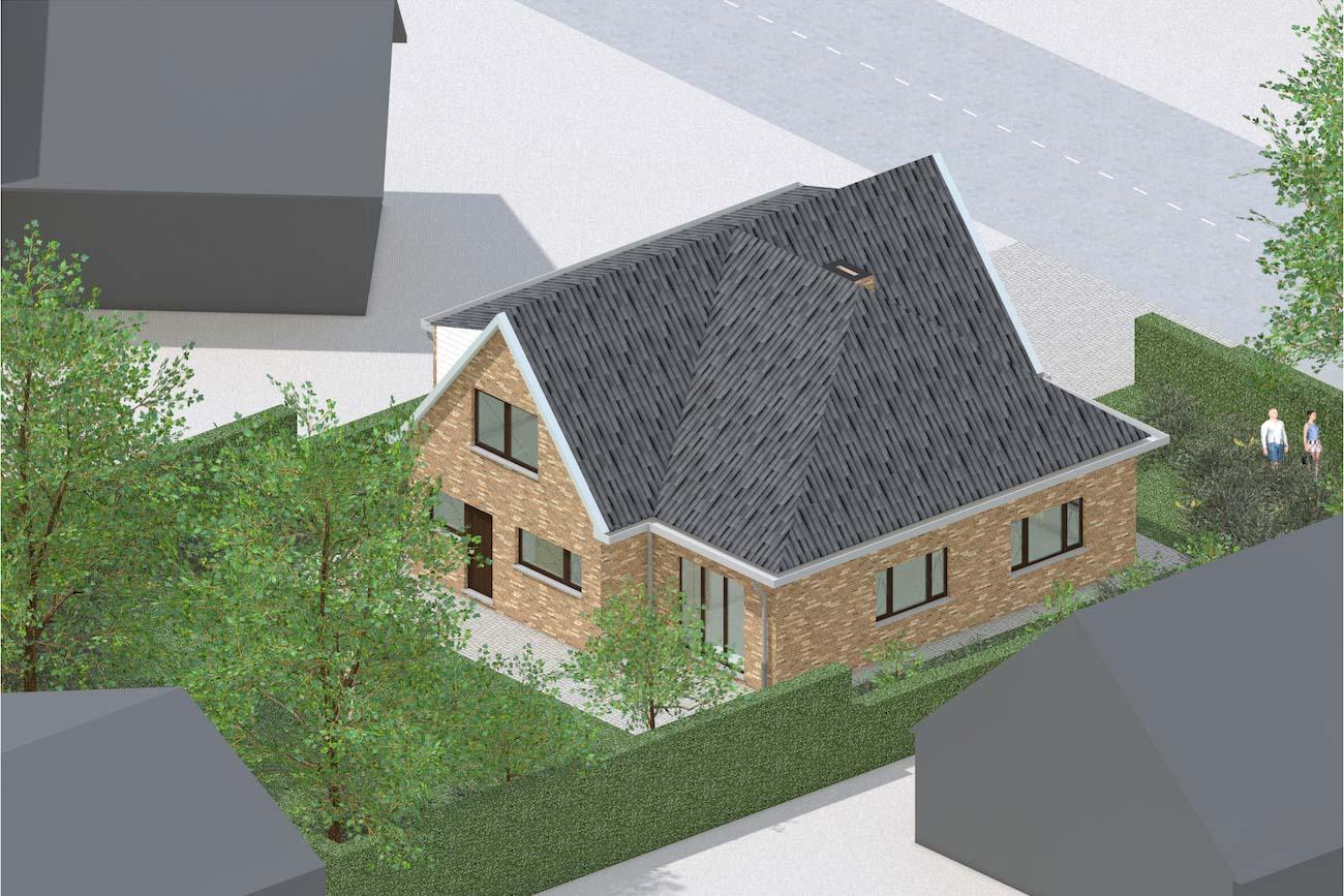 Woning in Mariakerke 3D render van bestande situatie achtergevel